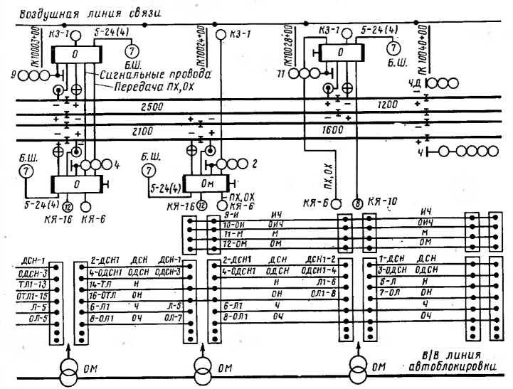 Путевой план перегона с воздушной линией двухпутной автоблокировки постоянного тока с двусторонним движением поездов
