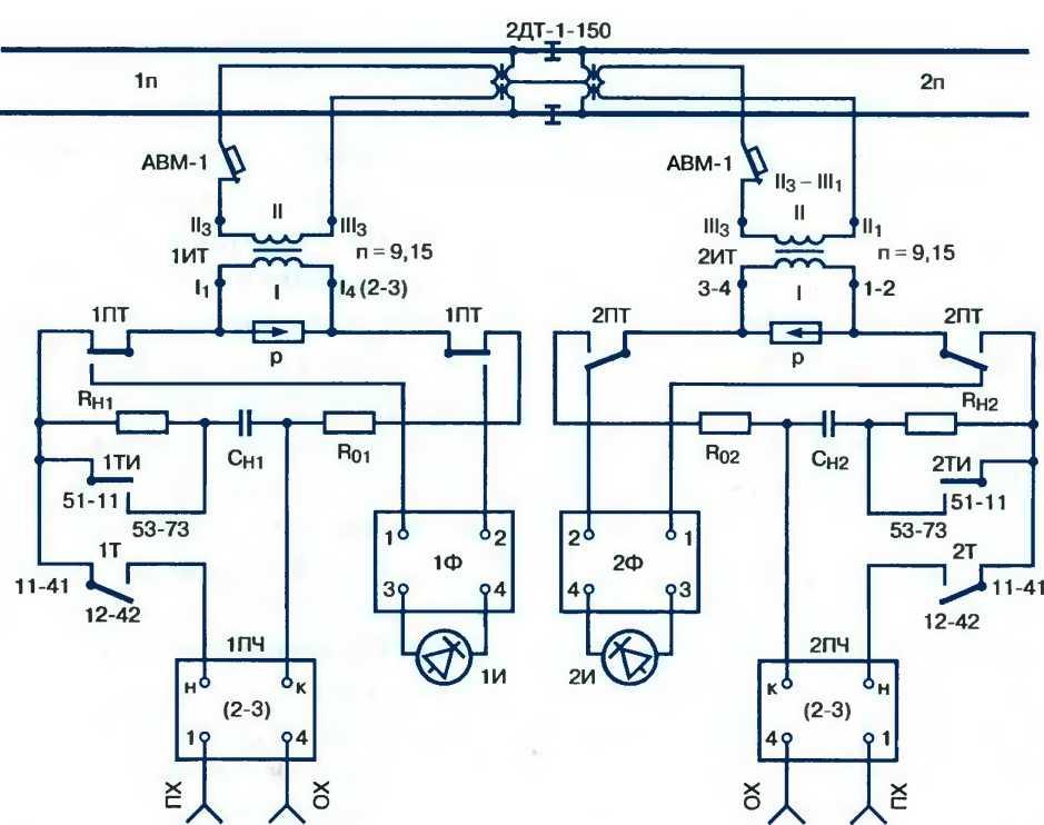 Схема смены направления наложения кодовых сигналов АЛСН на РЦ переменного тока 25 Гц