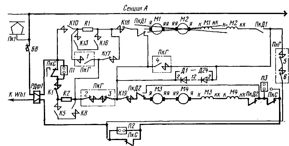 Схема силовых цепей секции А