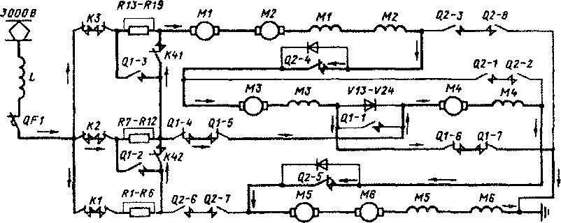 Схема силовых цепей одной