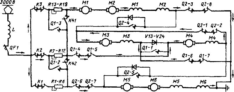 Рис. 203. Схема цепей тяговых