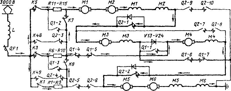 Схема цепей тяговых двигателей