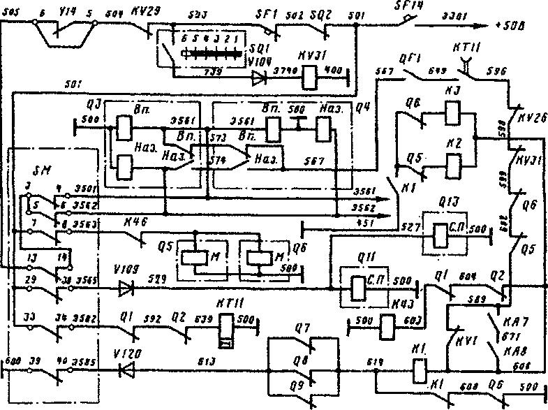 Схема цепей управления на 1-й