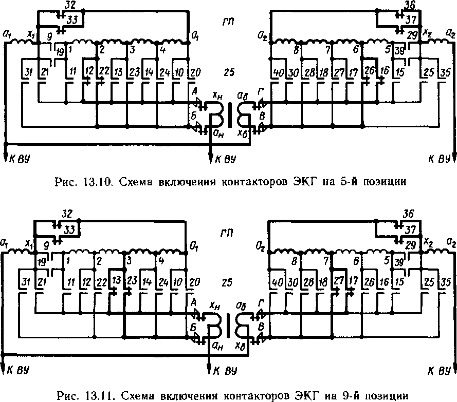 Схема включения контакторов