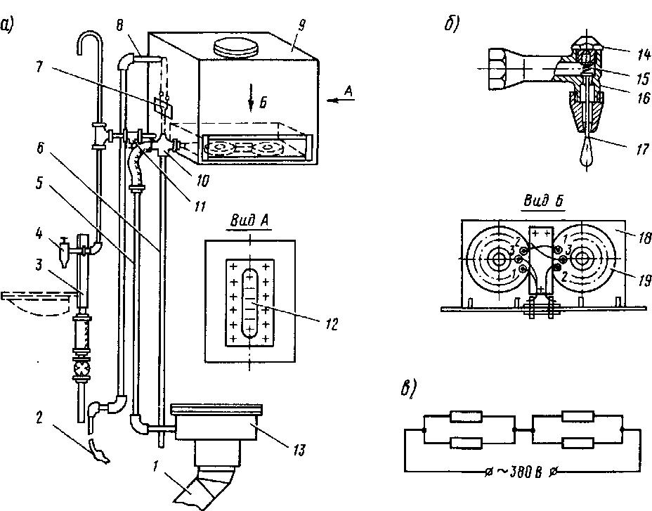Схема санузла (а)