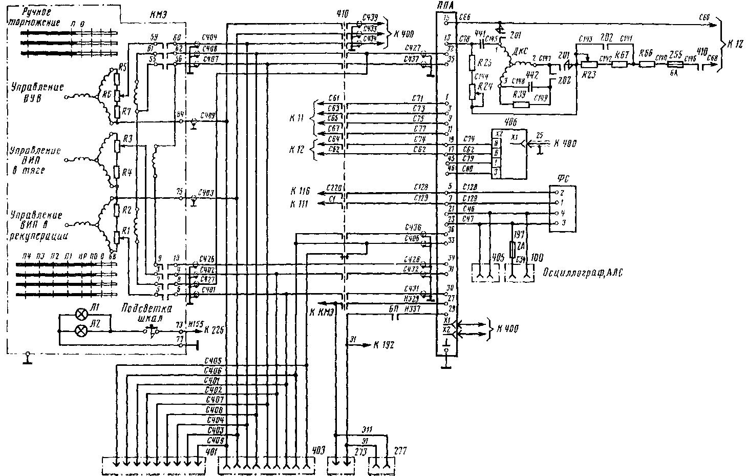 Схема цепей связи контроллера машиниста с системой регулирования