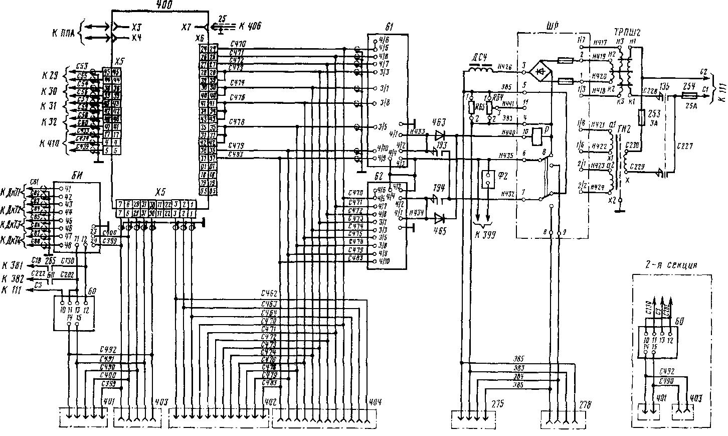 Схема цепей связи системы регулирования новлено по одному блоку управления. Управление ВИП 61, 62 и БУВ 60 1-й и 2-й секций осуществляется одним блоком управления 400 (1-й или 2-й секции), неработающий блок управления отключается переключателем 410 и является резервным.