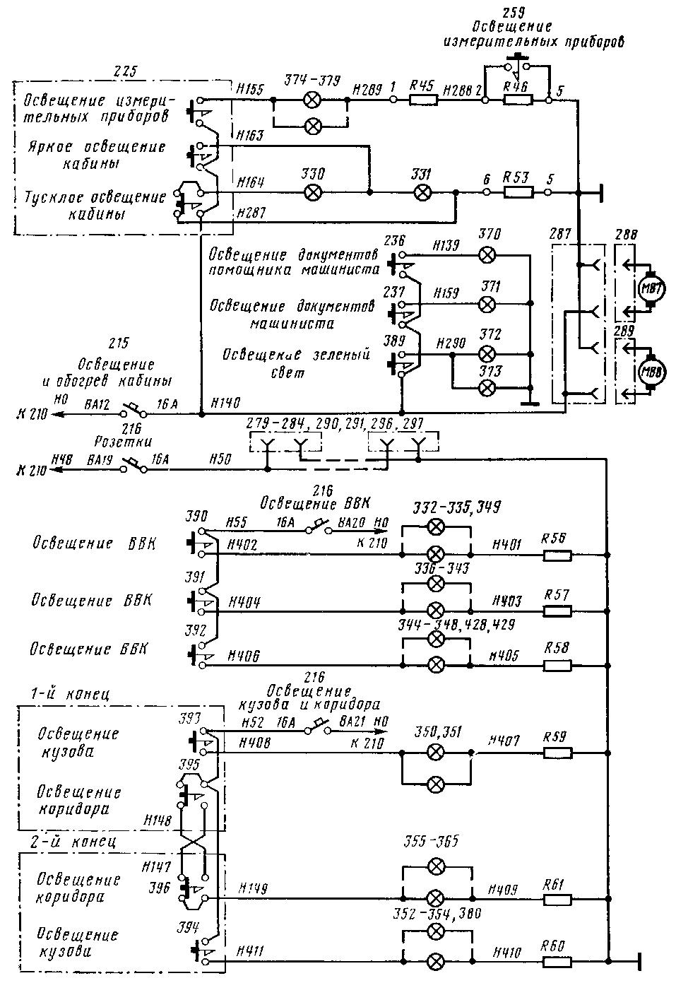 Схема цепей управления освещением