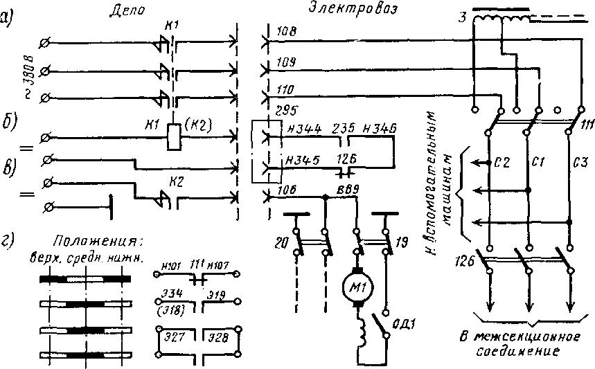 Схема электрических цепей переключателя 111 и контакторов К1 и К2